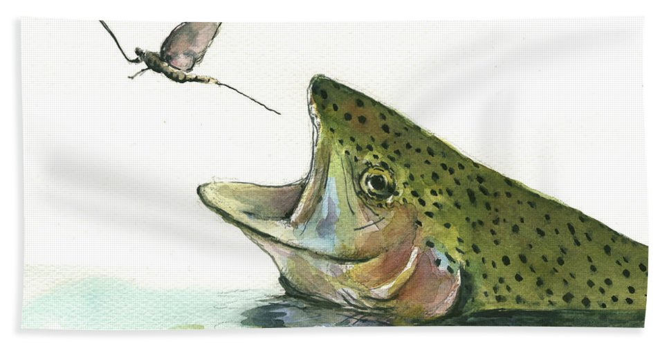 Rainbow Trout Beach Towel featuring the painting Rainbow trout by Juan Bosco