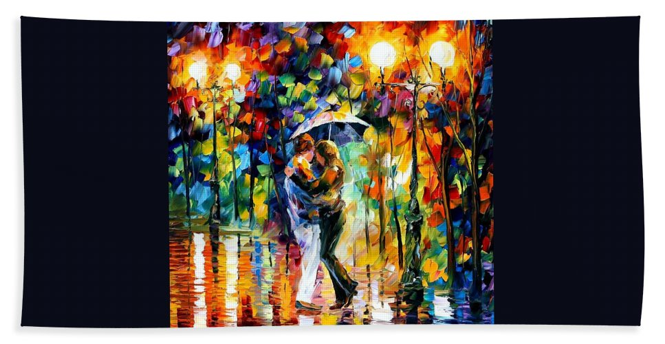 Afremov Beach Towel featuring the painting Rainy Dance by Leonid Afremov