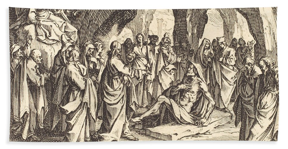 Beach Towel featuring the drawing Raising Of Lazarus by Jacques Callot