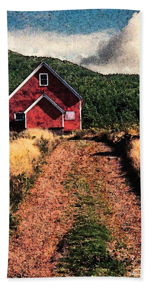 Red Barn Beach Towel featuring the photograph Red Barn Road by Ed A Gage
