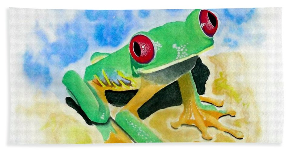 Amphibian Beach Towel featuring the painting Red Eyed Tree Frog by Jimmy Smith