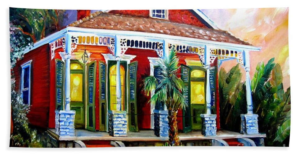 New Orleans Beach Towel featuring the painting Red Shotgun House by Diane Millsap