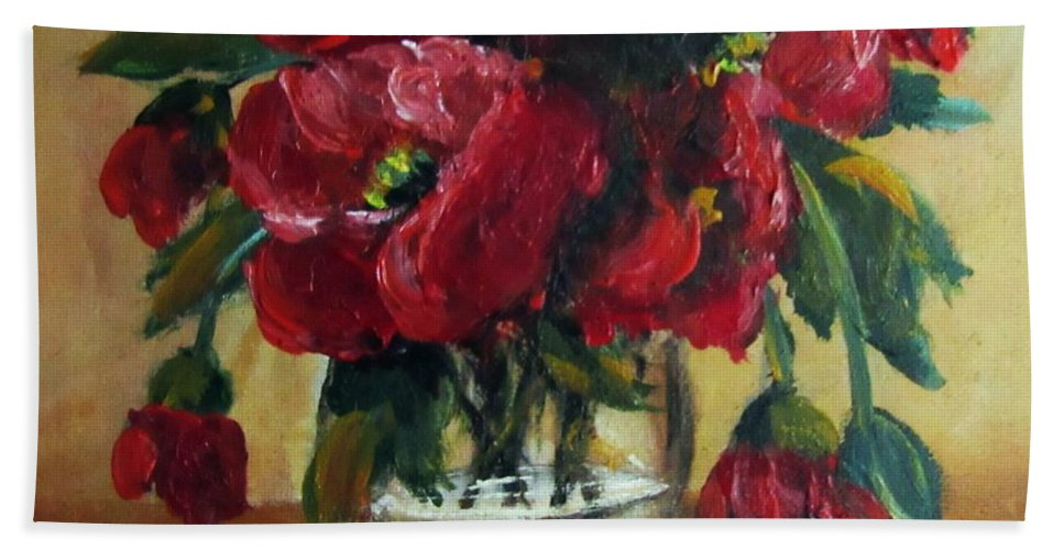 Still Life Beach Towel featuring the painting RED by Vesna Martinjak