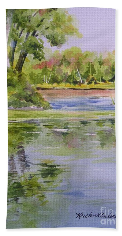 Watercolor Beach Towel featuring the painting Reflections by Kristen Anderson Hill