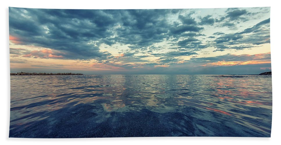 Sea Beach Towel featuring the photograph Reflections by Stelios Kleanthous