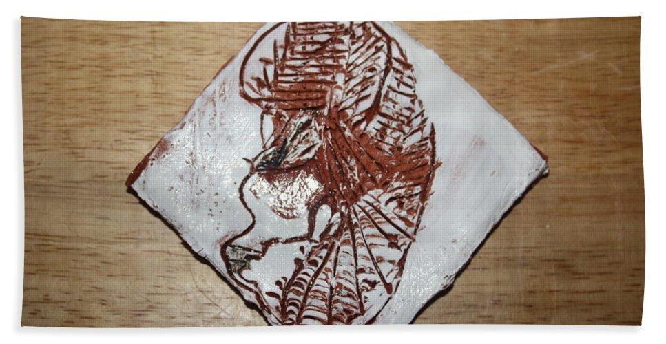 Jesus Beach Towel featuring the ceramic art Repose - Tile by Gloria Ssali