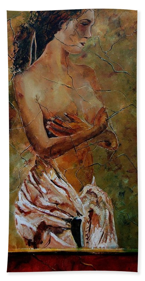Nude Beach Towel featuring the painting Roman nude 67 by Pol Ledent