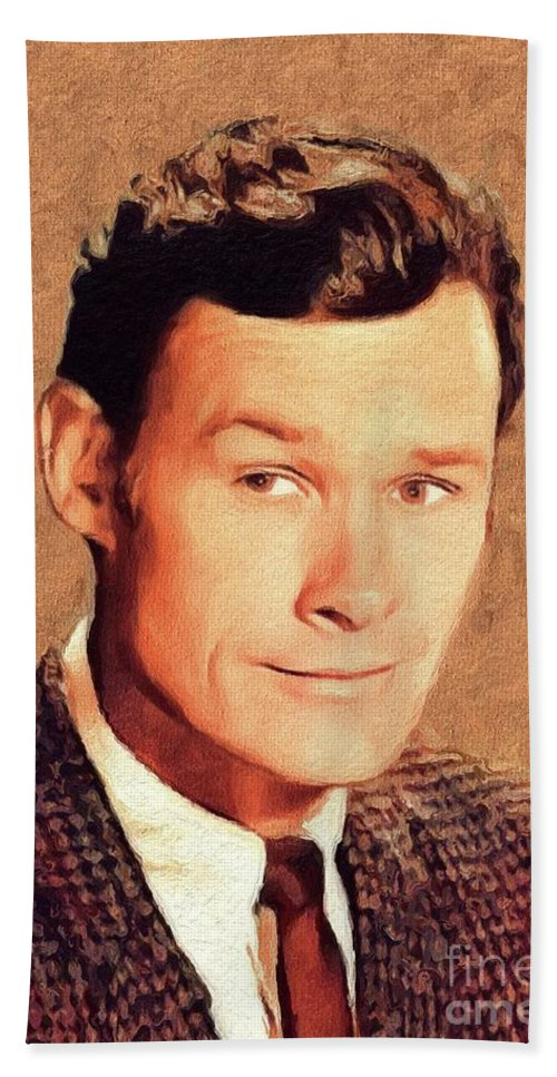 Ron Beach Sheet featuring the painting Ron Hayes, Vintage Actor by John Springfield