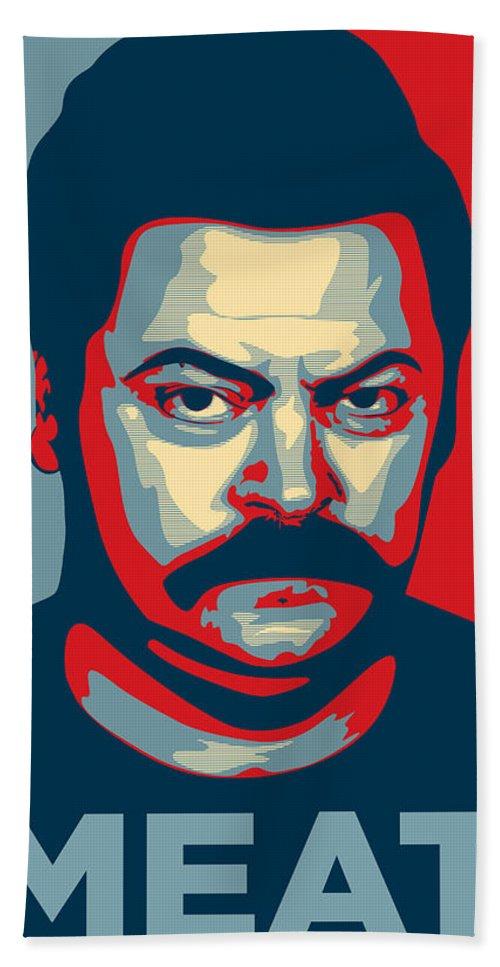 Ron Swanson Beach Sheet featuring the digital art Ron Swanson by Zapista Zapista