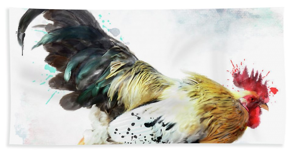Rooster Beach Towel featuring the digital art Rooster Running by Svetlana Foote