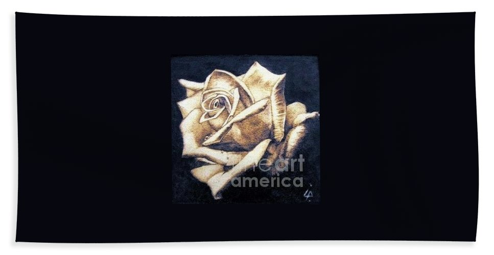 Rosa Beach Towel featuring the pyrography Rose by Ilaria Andreucci
