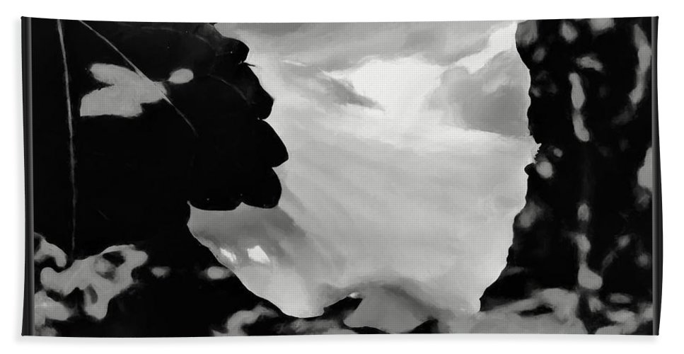 Nature Beach Towel featuring the mixed media Rose Of Sharon In Black And White by Debra Lynch