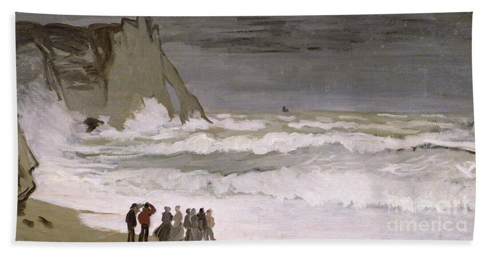 Rough Sea At Etretat Beach Towel featuring the painting Rough Sea At Etretat by Claude Monet