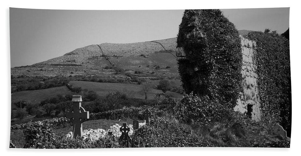 Irish Beach Sheet featuring the photograph Ruins In The Burren County Clare Ireland by Teresa Mucha