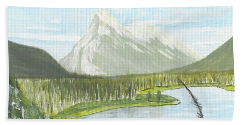 Acrylic Beach Towel featuring the painting Rundle From Banff by Nicki Bennett