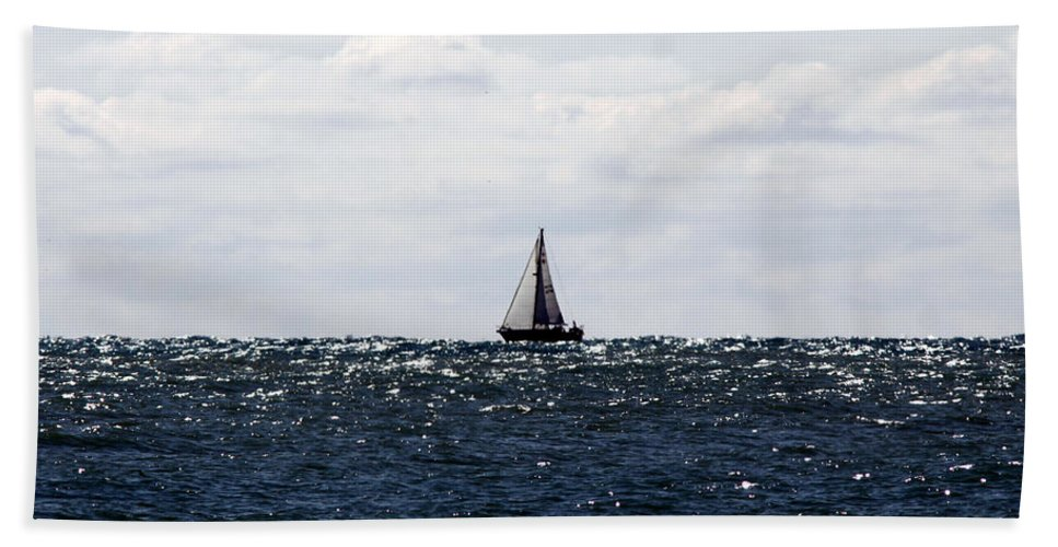 Sailboat.water Beach Towel featuring the photograph Sailboat by Steve Bell