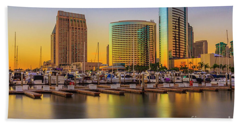 San Diego Seaport Long Exposure Sunset Beach Towel featuring the digital art San Diego by Roman Gomez