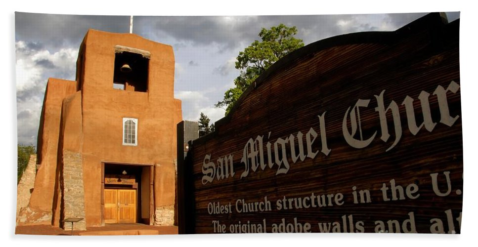 San Miguel Mission Church New Mexico Beach Towel featuring the photograph San Miguel Mission Church by David Lee Thompson