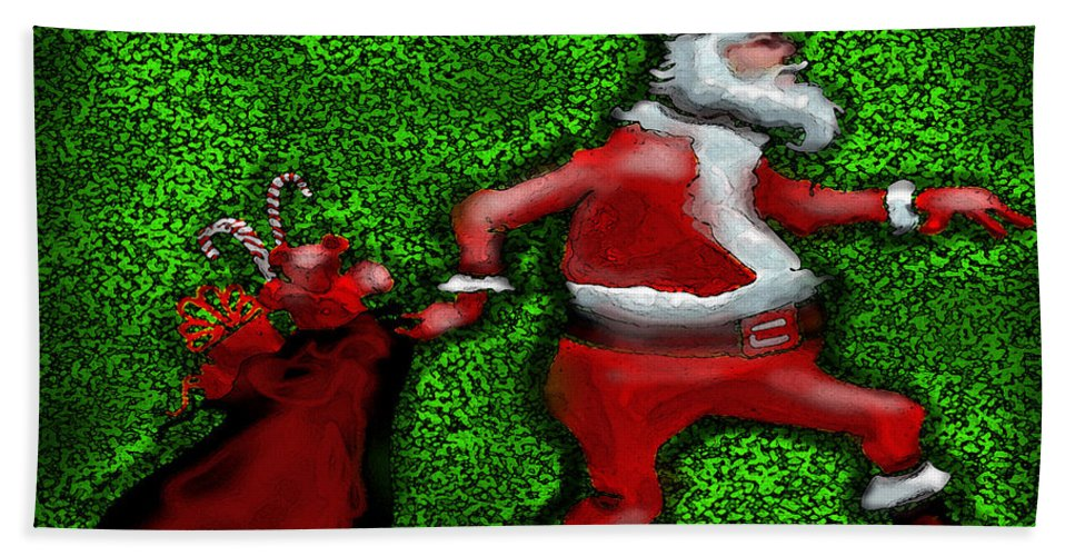 Santa Beach Towel featuring the greeting card Santa Claus by Kevin Middleton