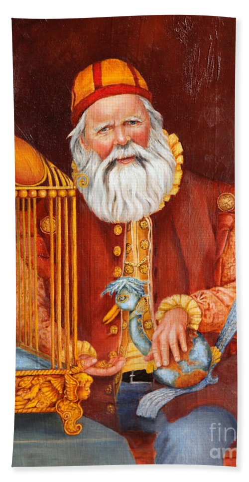 Santa Beach Towel featuring the painting Santa by Portraits By NC