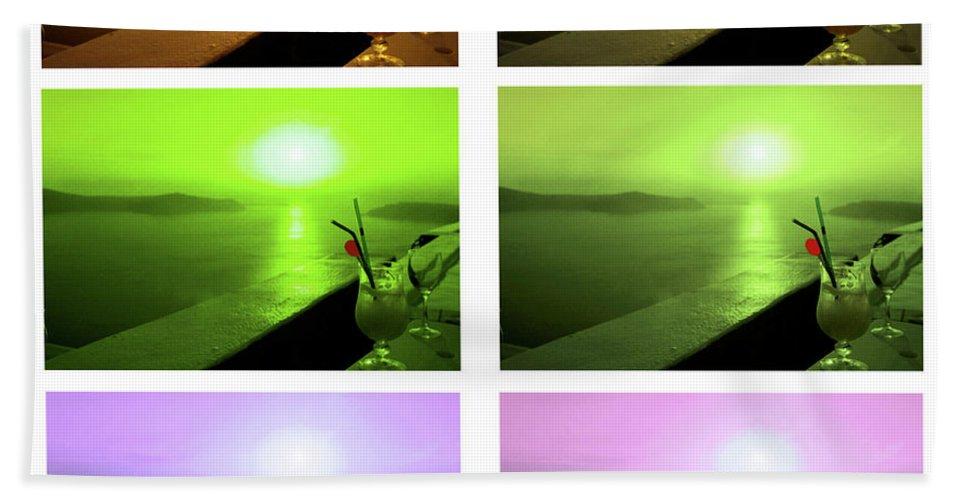 Santorini Beach Towel featuring the photograph Santorini Sunsets by Madeline Ellis