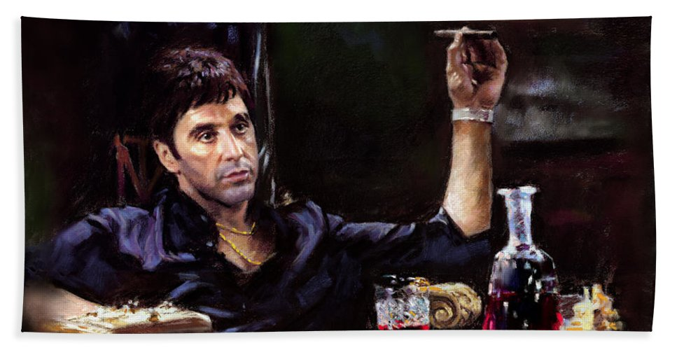 Al Pacino Beach Towel featuring the pastel Scarface by Ylli Haruni