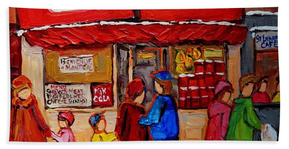 Schwartzs Hebrew Deli Beach Towel featuring the painting Schwartz's Hebrew Deli by Carole Spandau
