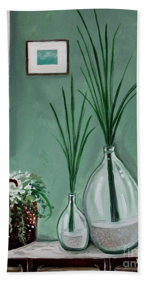 Home Decor Art Beach Towel featuring the painting Sea Grass by Elizabeth Robinette Tyndall