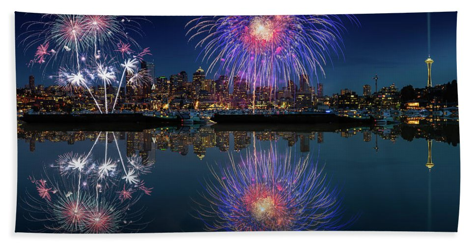 4th Beach Towel featuring the photograph Seattle Skyline And Fireworks by William Freebilly photography