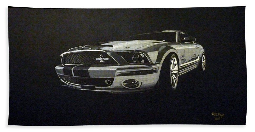 Shelby Beach Towel featuring the painting Shelby Mustang Front by Richard Le Page