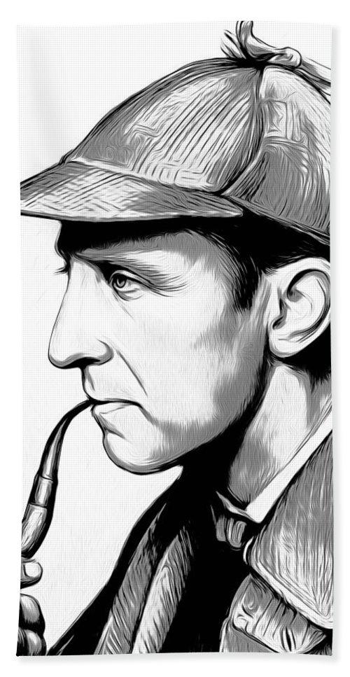 Sherlock Holmes Beach Sheet featuring the digital art Sherlock Holmes by Greg Joens