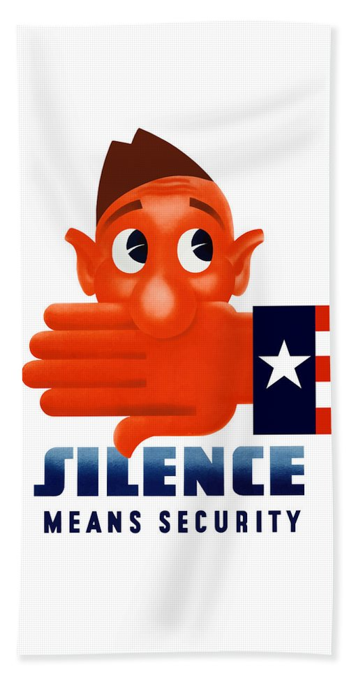 Wwii Propaganda Beach Towel featuring the mixed media Silence Means Security by War Is Hell Store