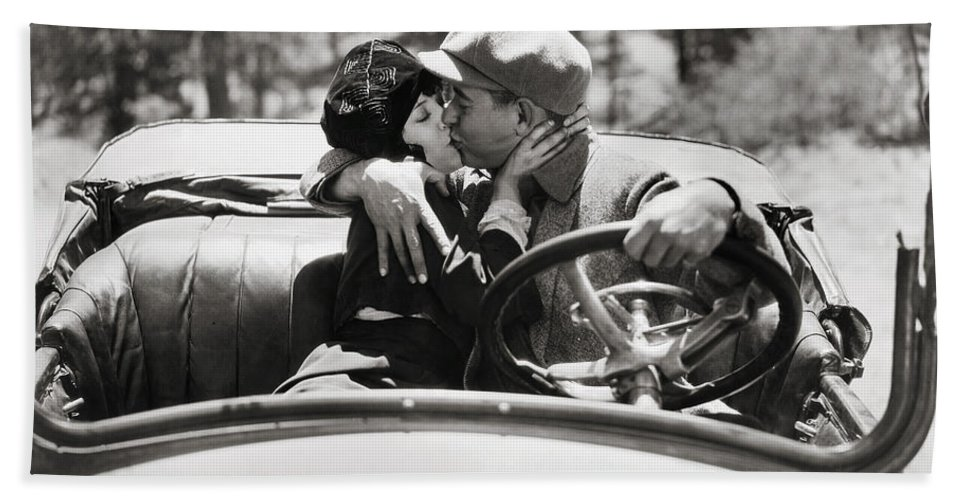 -kissing- Beach Towel featuring the photograph Silent Film Still by Granger
