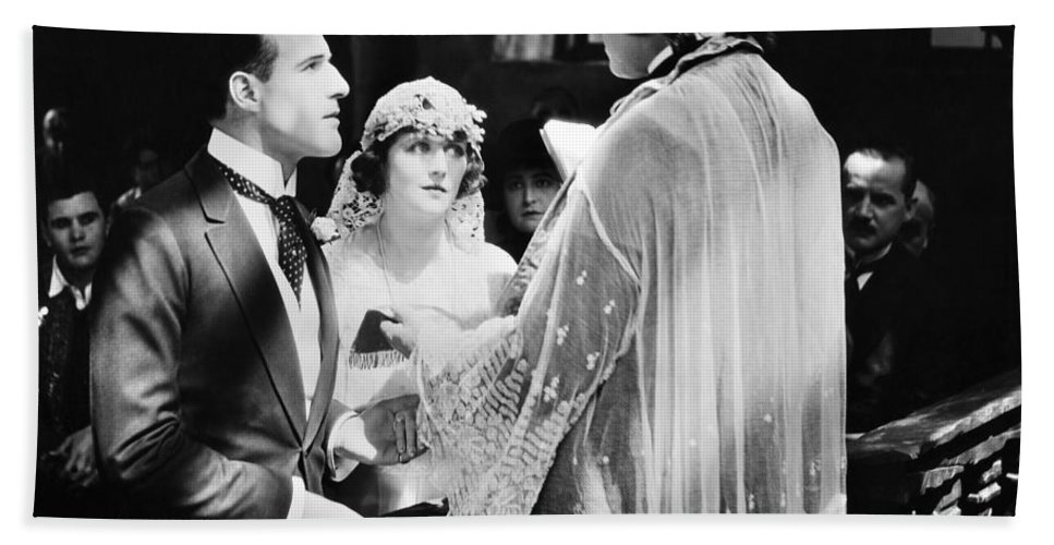-weddings & Gowns- Beach Towel featuring the photograph Silent Film Still: Wedding by Granger