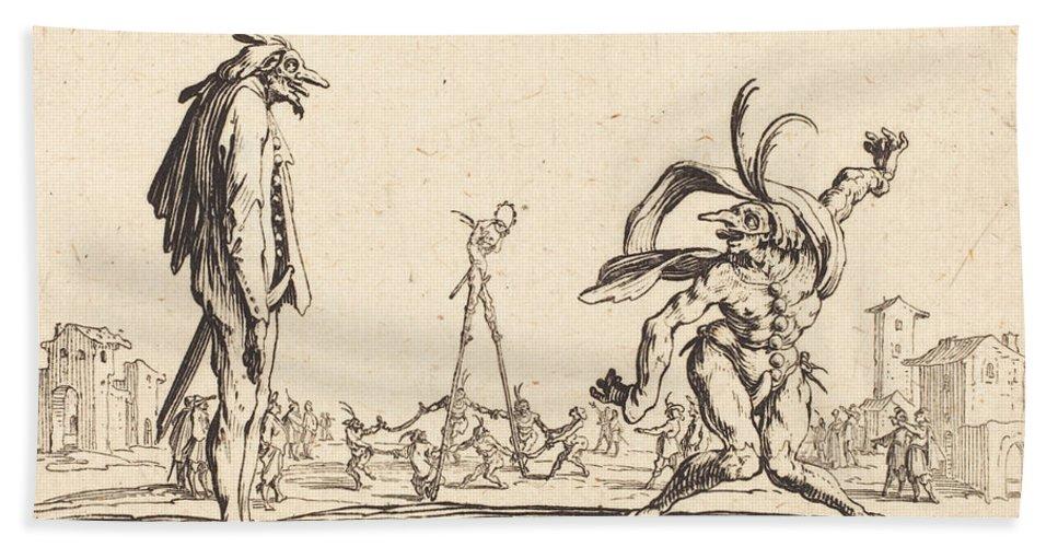 Beach Towel featuring the drawing Smaralo Cornuto And Ratsa Di Boio by Jacques Callot