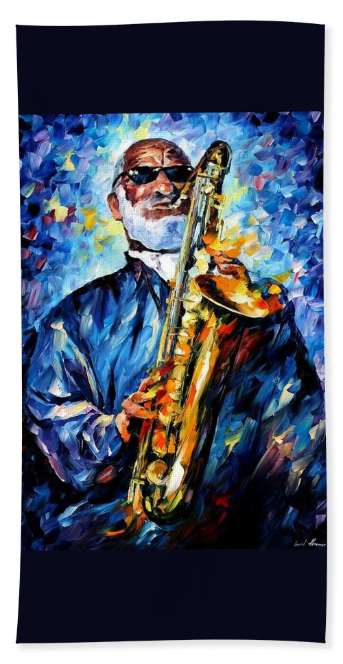 Afremov Beach Towel featuring the painting Sonny Rollins by Leonid Afremov