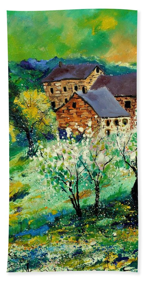 Landscape Beach Towel featuring the painting Spring 560140 by Pol Ledent