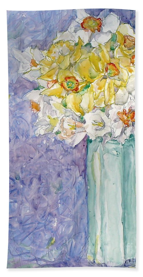 Watercolor Beach Sheet featuring the painting Spring Blossoms by Jan Bennicoff