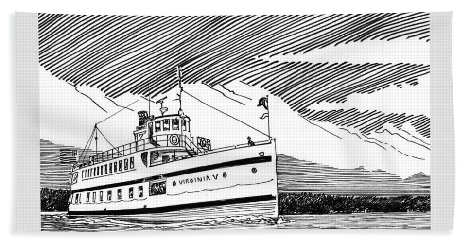 The Steamship Virginia V Is The Last Operational Example Of A Puget Sound Mosquito Fleet Steamer Beach Towel featuring the drawing Steamship Virginia V by Jack Pumphrey