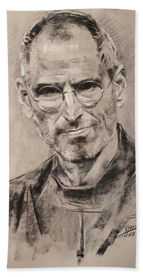 Steve Jobs Beach Towel featuring the drawing Steve Jobs by Ylli Haruni