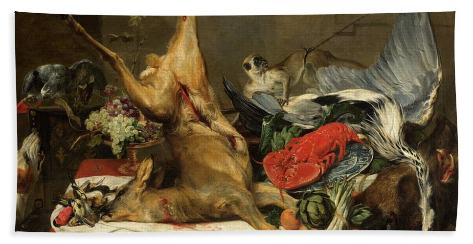 Dead-game Beach Towel featuring the painting Still Life With Dead Game, A Monkey, A Parrot, And A Dog by Frans Snyders