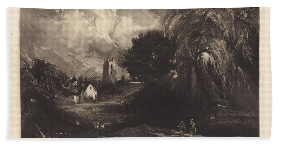 Beach Towel featuring the drawing Stoke-by-neyland by David Lucas After John Constable
