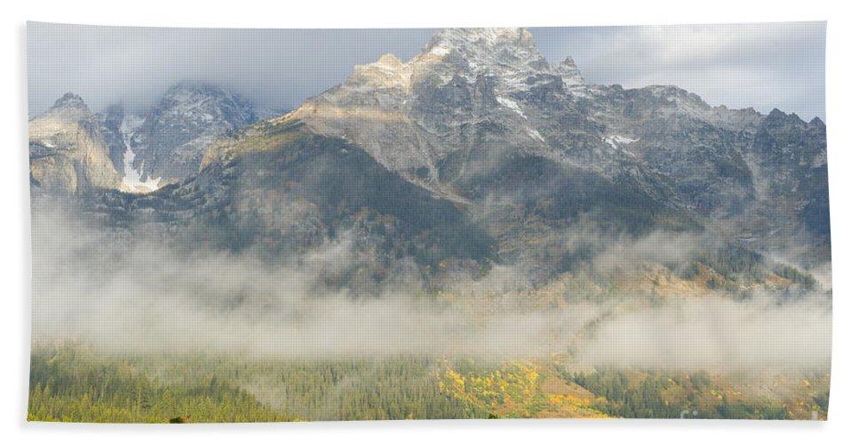 Grand Teton National Park Beach Towel featuring the photograph Storm On Grand Teton by Sandra Bronstein