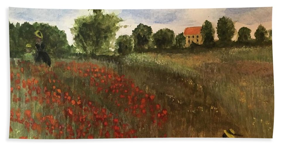 Monet Beach Towel featuring the painting Study Of Monet by Bud Waterman
