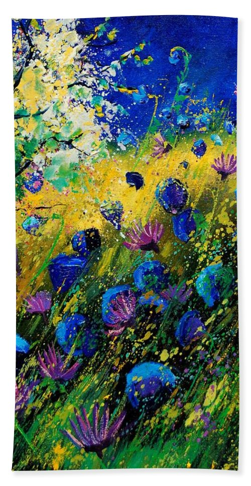Poppies Beach Sheet featuring the painting Summer 450208 by Pol Ledent