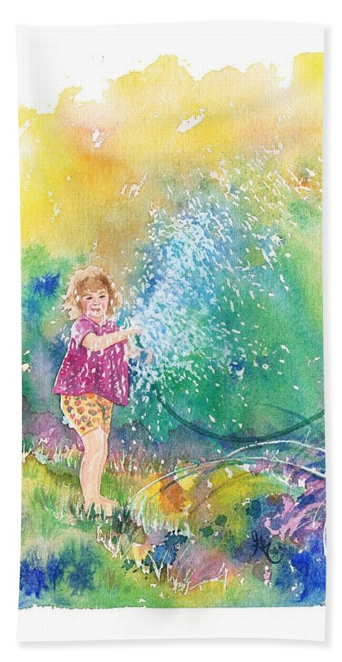 Children Beach Sheet featuring the painting Summer Fun by Gale Cochran-Smith