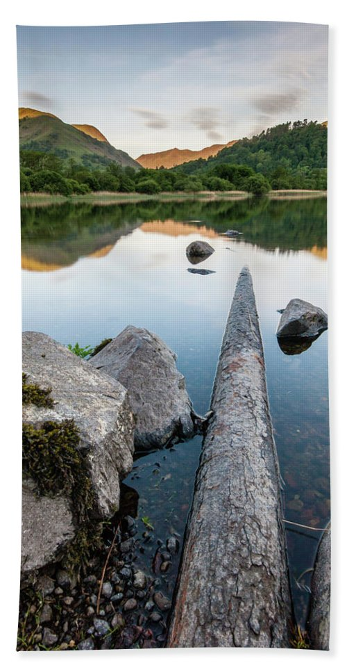 Landscape Beach Towel featuring the photograph Sunrise at Ullswater, Lake District, North West England by Anthony Lawlor