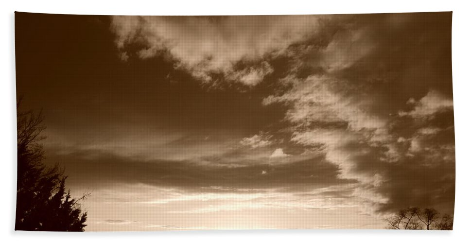 Sunset Beach Towel featuring the photograph Sunset And Clouds by Rob Hans