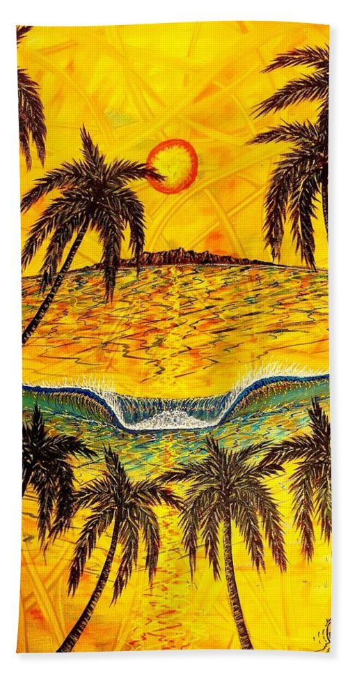 Sunset Beach Towel featuring the painting Sunset Dream 1 by Paul Carter