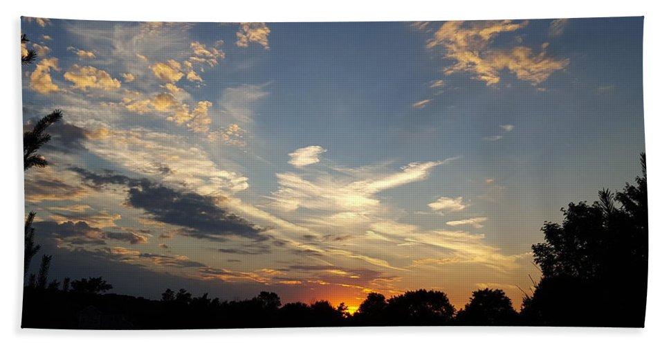 Sunset Beach Towel featuring the photograph Sunset Sky Over Ohio by Maureen Ida Farley